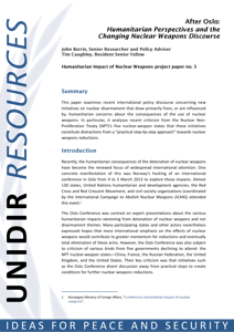 After Oslo: Humanitarian Perspectives and the Changing Nuclear Weapons Discourse (UNIDIR) image