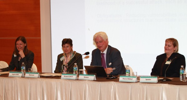 Panelists presenting and discussing 1540-related issues at the Conference: (from left) Dr. Sibylle Bauer, Director, Dual-use and Arms Trade Control Program, SIPRI; Ms. Angela Kane, High Representative for Disarmament Affairs, United Nations; Dr. Richard Cupitt, U.S. UNSCR 1540 Coordinator, U.S. Department of State; and Ms. Sharon Riggle, Director, Regional Centre for Peace and Disarmament in Asia and the Pacific, United Nations.