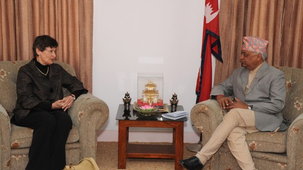 High Representative for Disarmament Affairs Angela Kane meeting with Minister for Foreign Affairs Madhav Prasad Ghimire