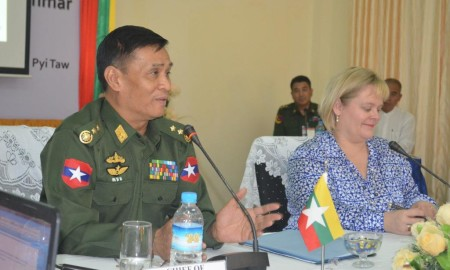 Lt. Gen. Thein Htay giving a comment image
